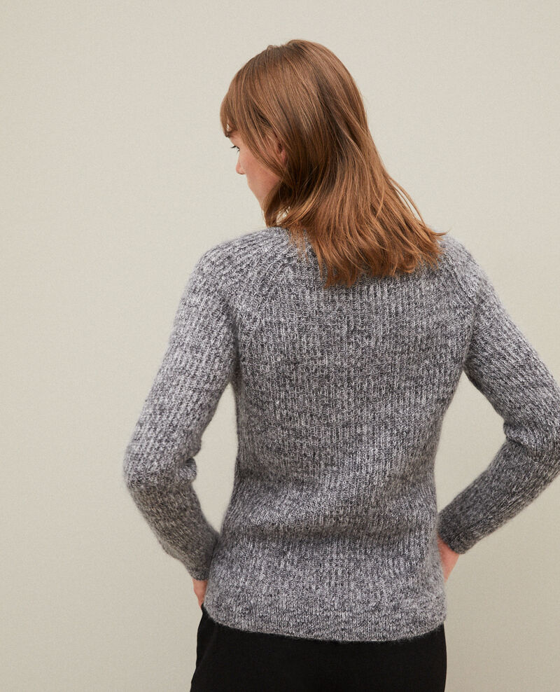 Jersey jaspeado de mohair Light grey/noir/silver gray Girofle