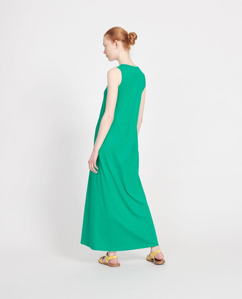 Vestido largo de algodón con cuello de pico Golf green Larosa