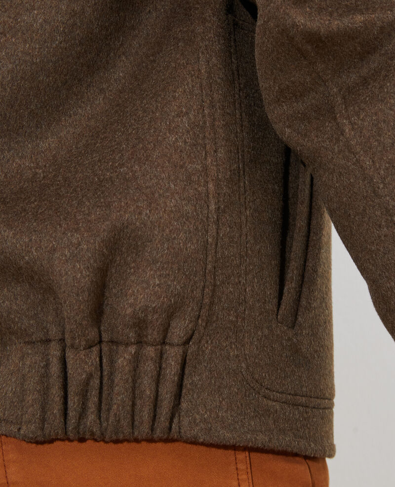 Chaqueta corta de lana y cachemir Kaki Pauguio