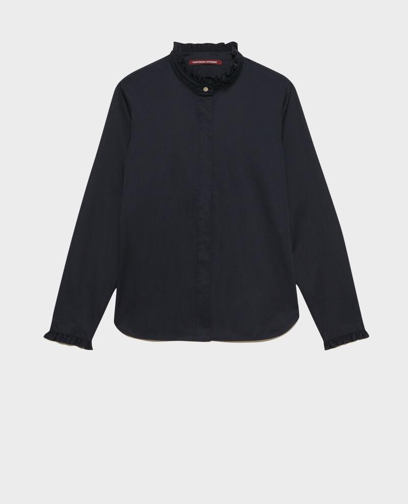 Camisa de algodón cuello subido con volante Night sky Marcenat