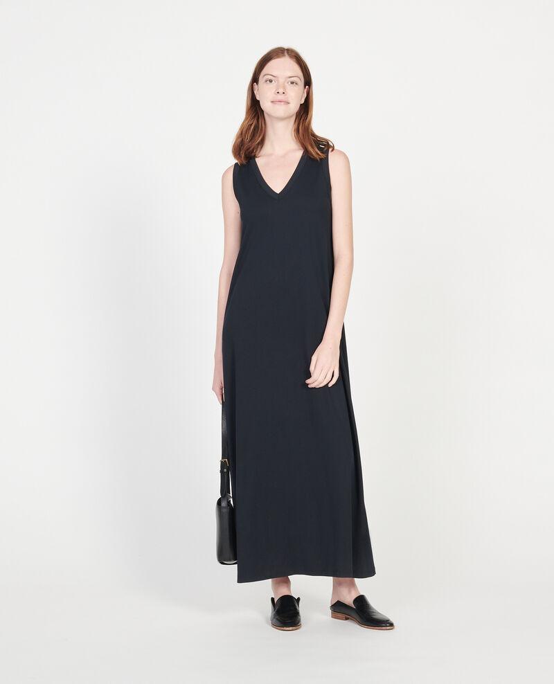 Vestido largo de algodón mercerizado Black beauty Larosa