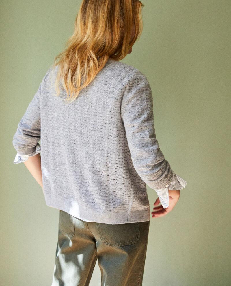 Cárdigan de lana punto fantasía 100% Lana Merino Medium grey Jemuel