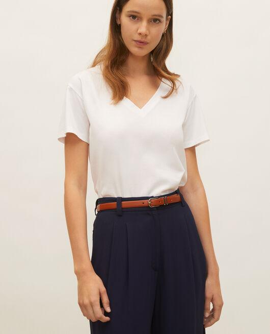Camiseta de algodón con cuello de pico y manga corta OPTICAL WHITE