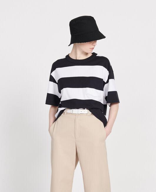 Camiseta rayada oversize STR OPTICALWHITE BLACK