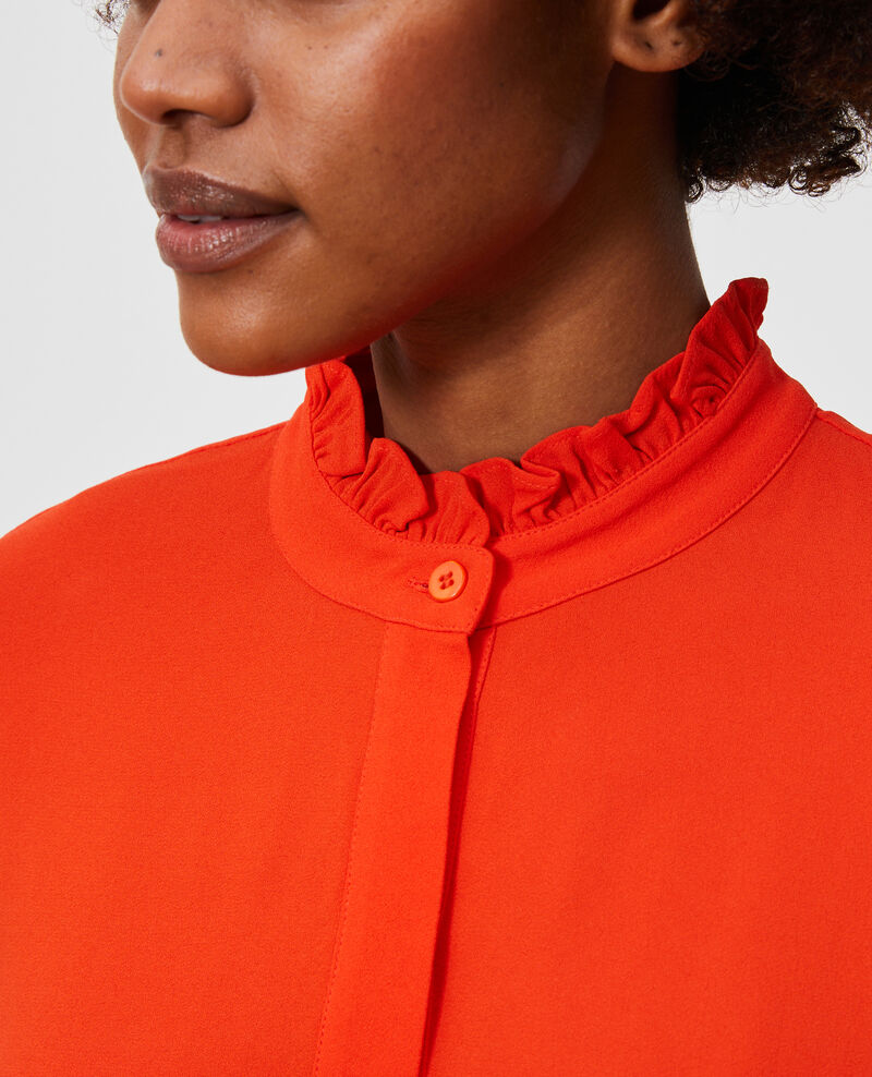 Vestido recto con volantes en el cuello Spicy orange Nepal