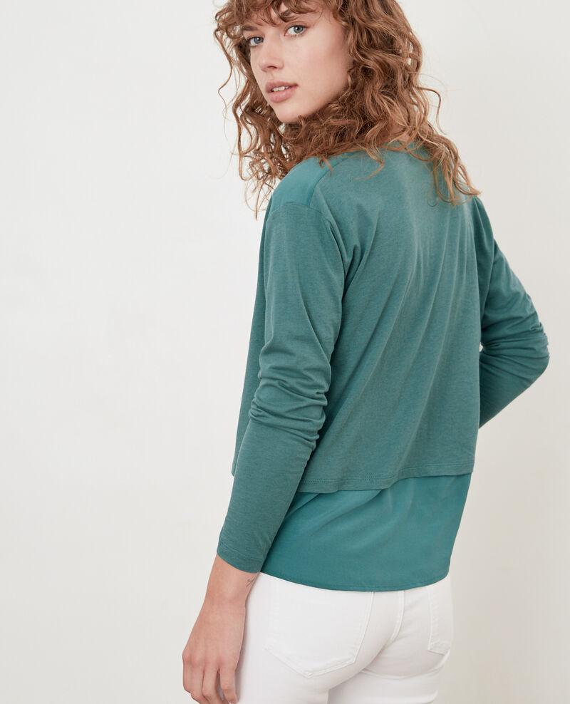 Camiseta de dos tejidos con seda Blue Fabio