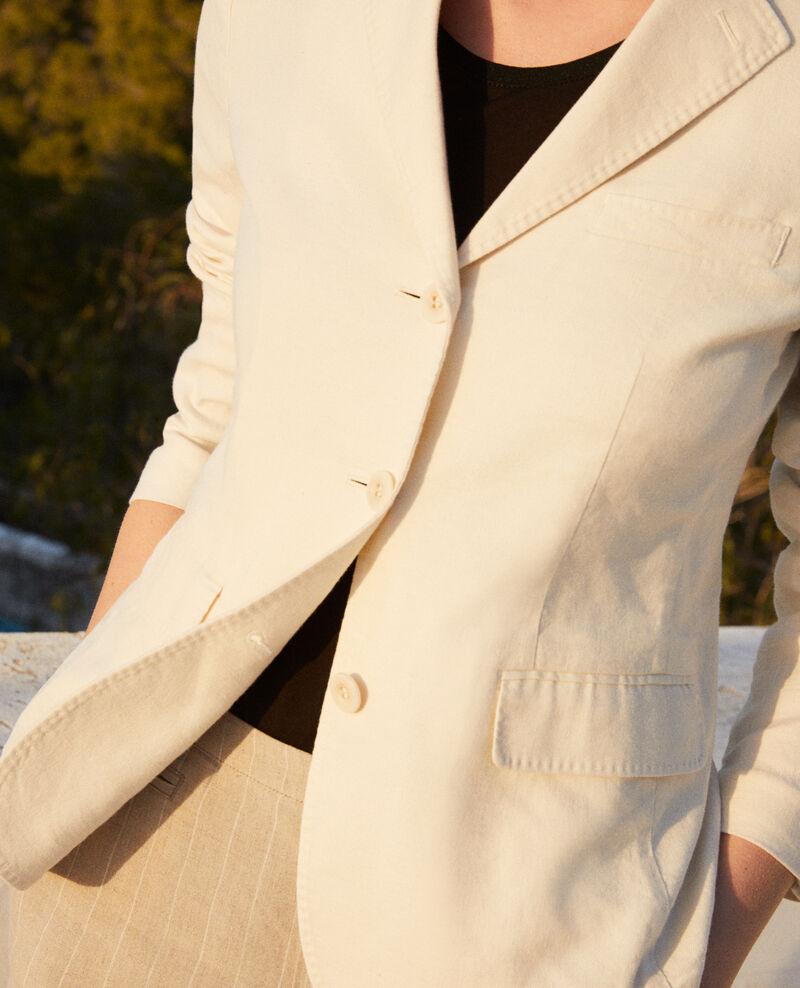 Chaqueta de traje con lino Off white Ibea