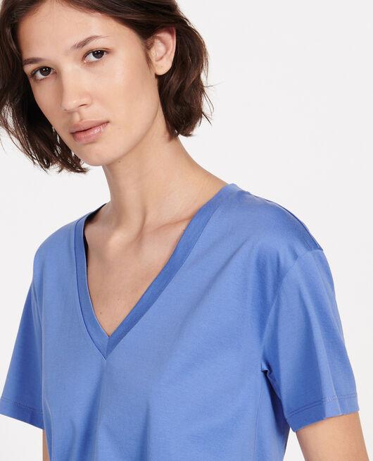 Camiseta de algodón con cuello de pico y manga corta AMPARO BLUE