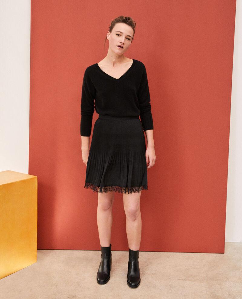 Falda plisada con detalle de encaje Negro Gilipine