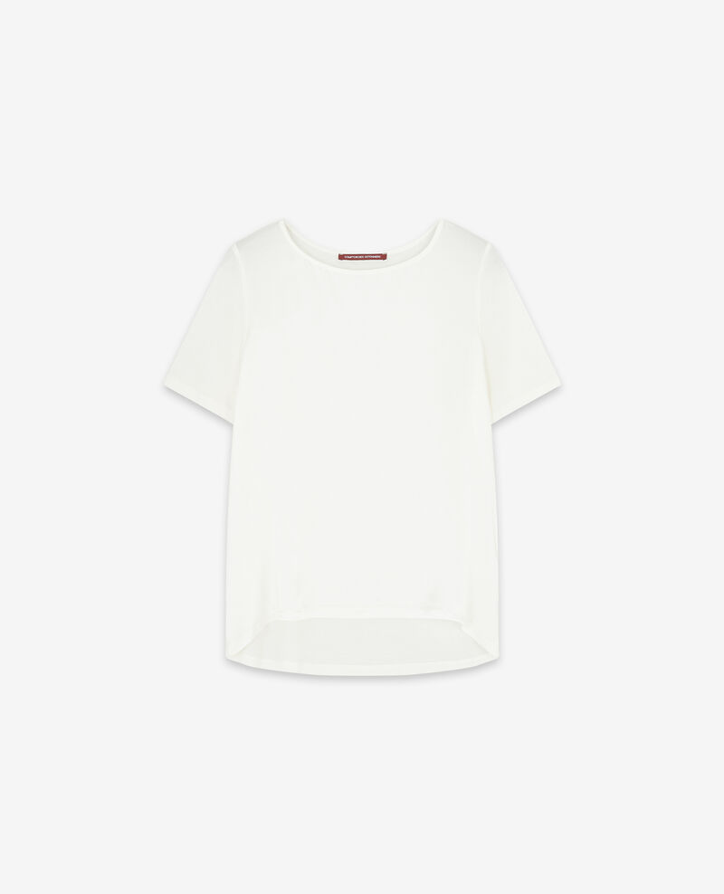 Camiseta de dos tejidos con seda Off white Dupalais