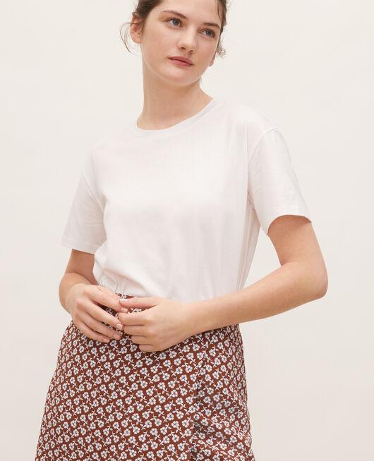 Camiseta de algodón con cuello redondo y manga corta OPTICAL WHITE