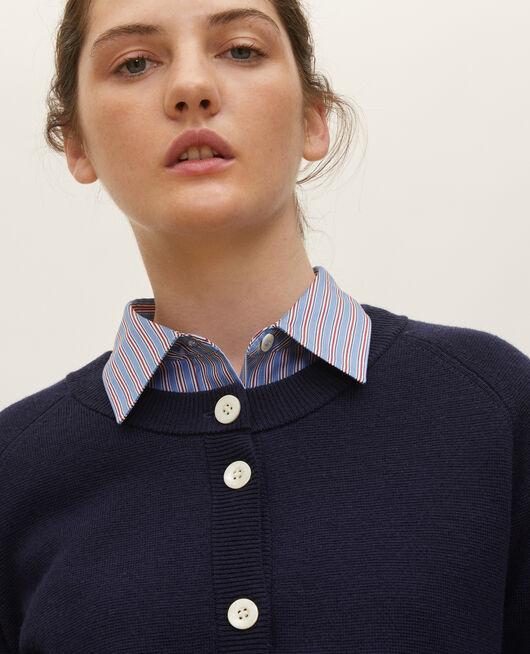 Cárdigan de lana con cuello redondo MARITIME BLUE