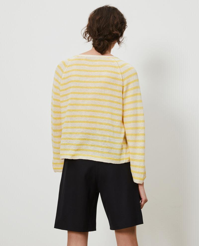 Jersey rayado de lino Stp cream lemn Logron
