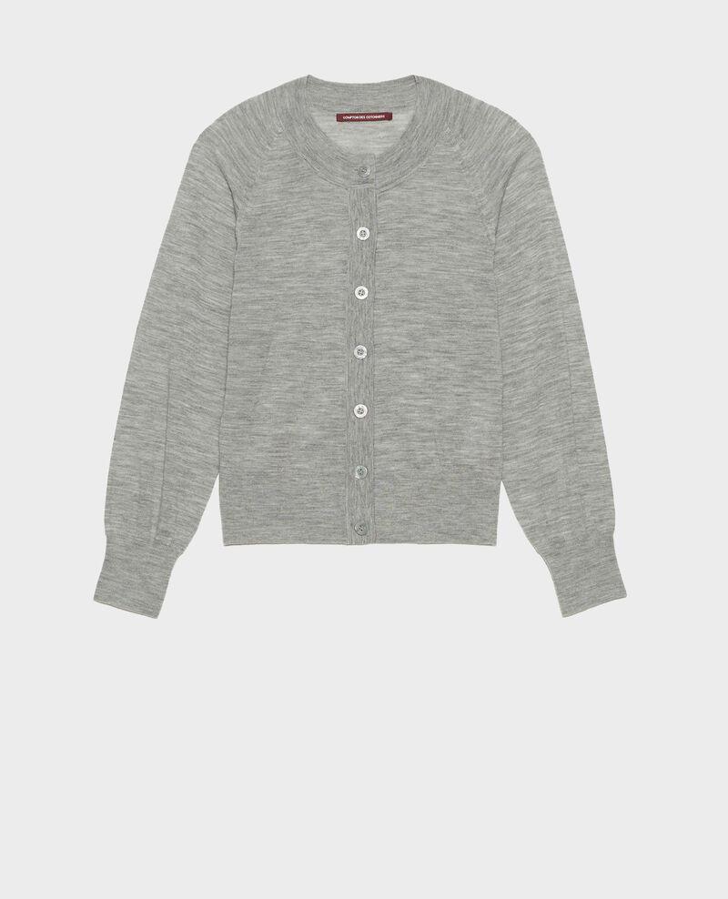 Cárdigan de lana merino con cuello redondo Light grey melange Molinot