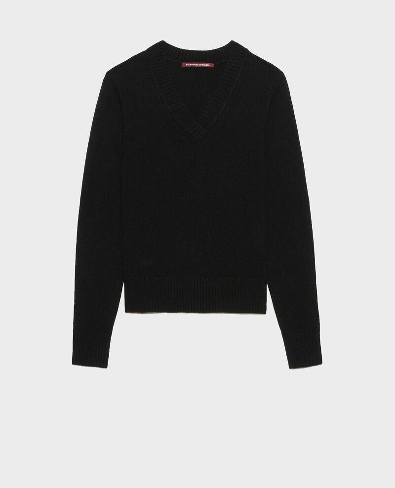 Jersey de cachemir con cuello de pico Black beauty Millac