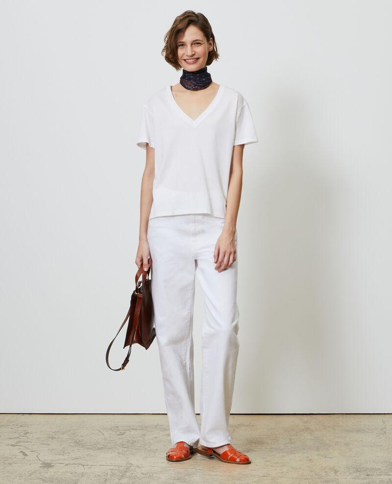 Camiseta de algodón con cuello de pico Optical white Laberne