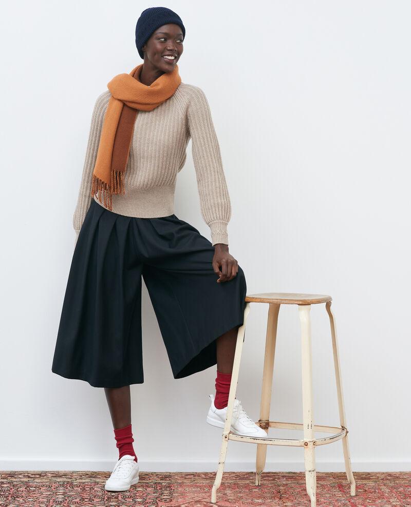 BABETH - Falda pantalón de lana y cachemir con pinzas Black beauty Marby