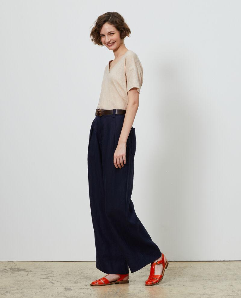 Pantalón YVONNE de lino con talle alto Maritime blue Lafare