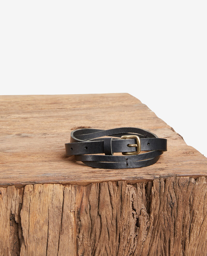 Cinturón trenzado de cuero Noir Fiole