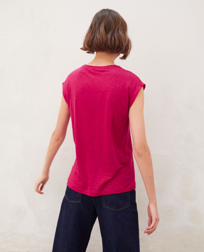 Camiseta de lino bordada Fushia Imomo
