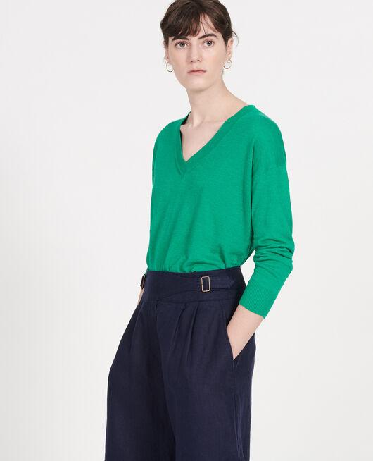 Jersey con cuello de pico de lino y algodón GOLF GREEN