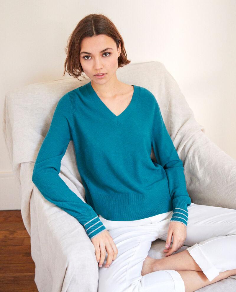 Pull fin en laine merinos Turquoise Idile
