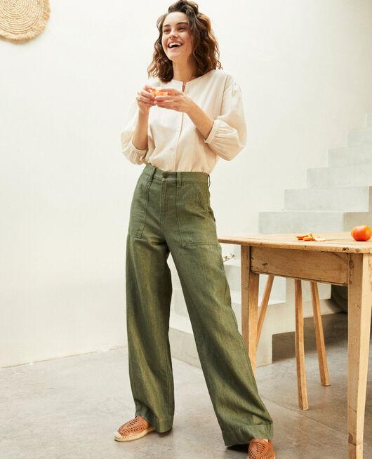 Pantalón con lino CHENG OLIVE