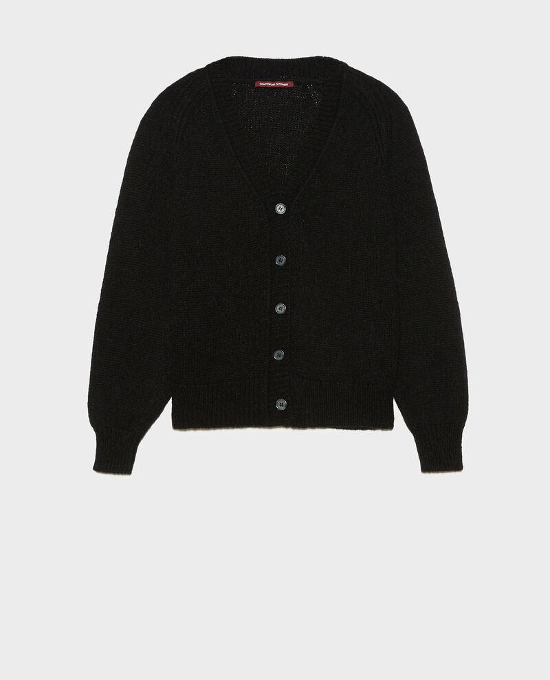 Cárdigan oversize de lana con cuello de pico Black beauty Montfuji