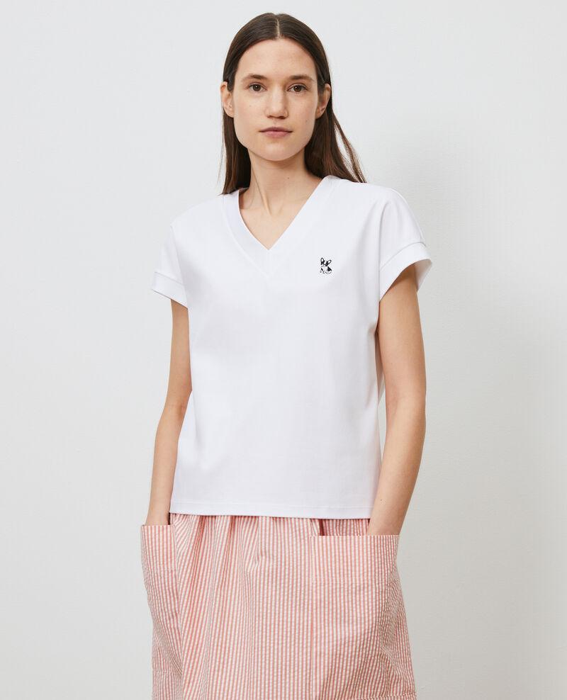 Camiseta de algodón bío con cuello de pico Optical white Nohant