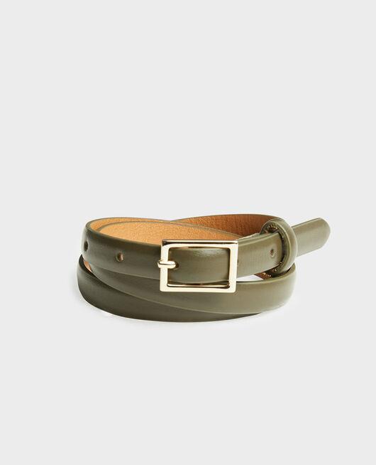 Cinturón fino de cuero con hebilla rectangular MILITARY GREEN