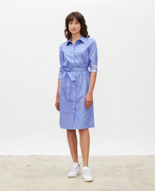Vestido camisero de algodón con cinturón BLUE AS PROTO