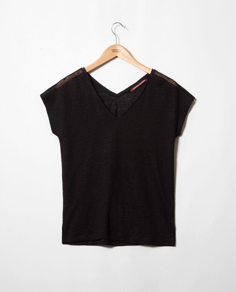 T-shirt en lin Noir Itlanta