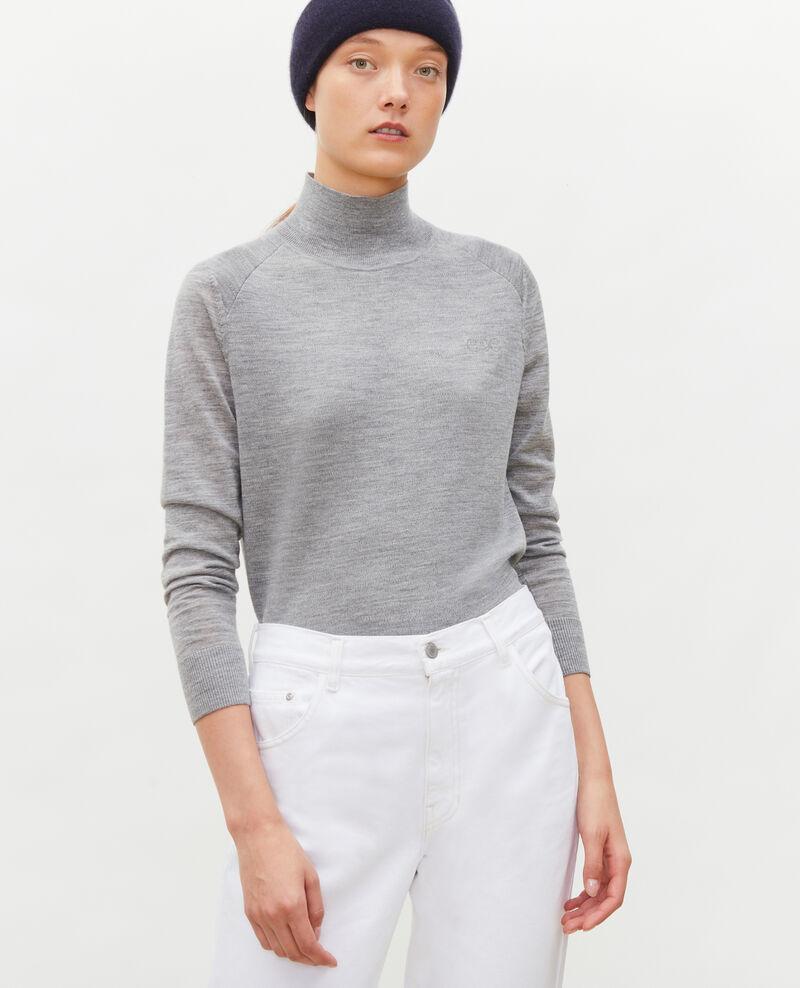 Jersey de lana merino con cuello subido Light grey melange Malleville