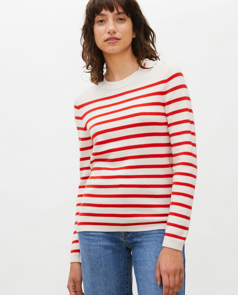 Jersey marinero de lana Stripes fiery red gardenia Liselle