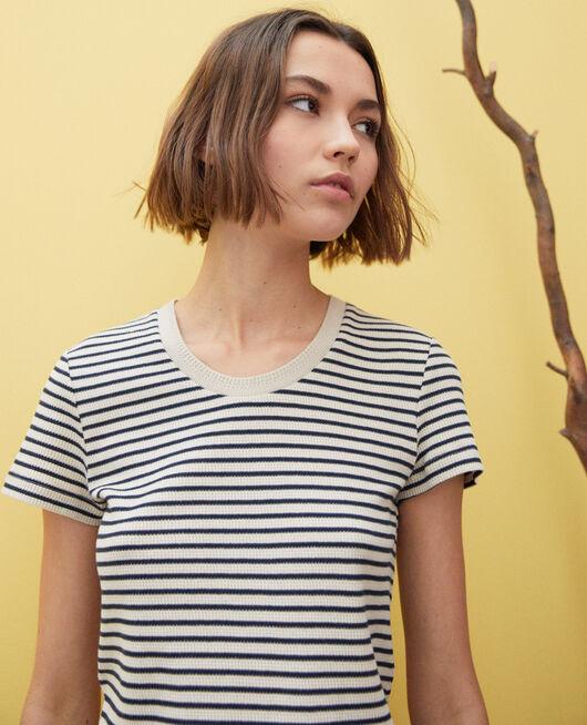 Camiseta de rayas BEIGE/NAVY