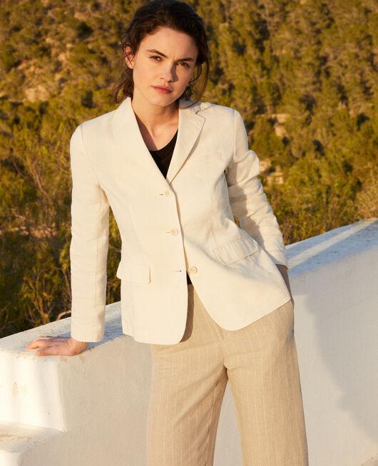 Chaqueta de traje con lino OFF WHITE