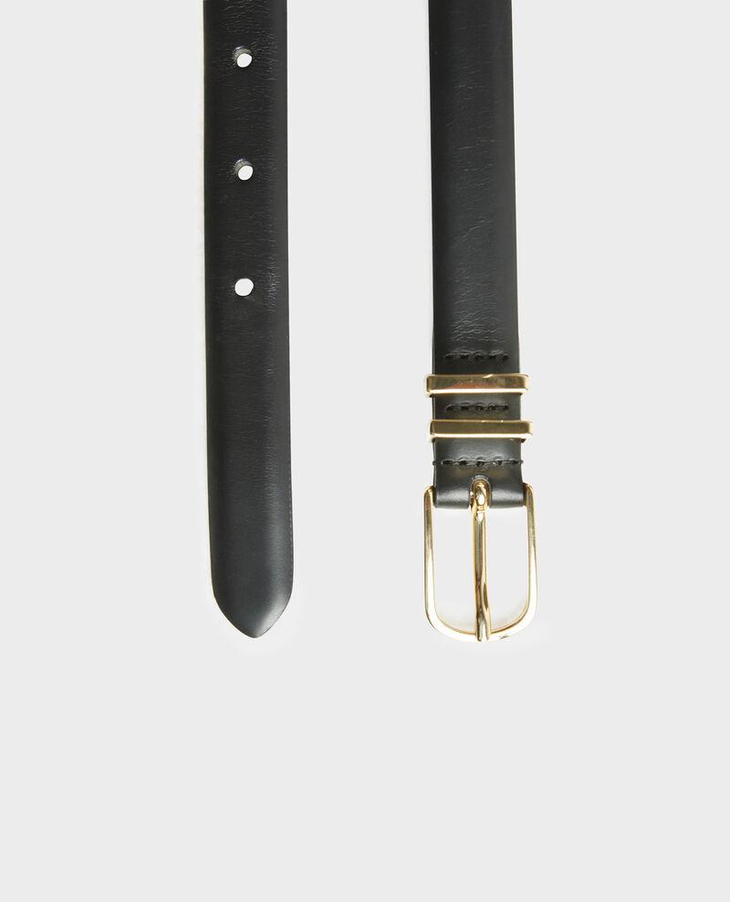 Cinturón de cuero con hebilla y presillas de metal dorado Black beauty Mendite