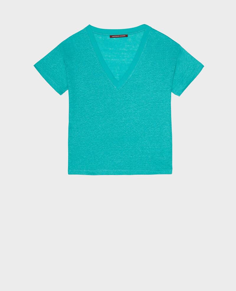 Camiseta de lino Bright aqua Locmelar