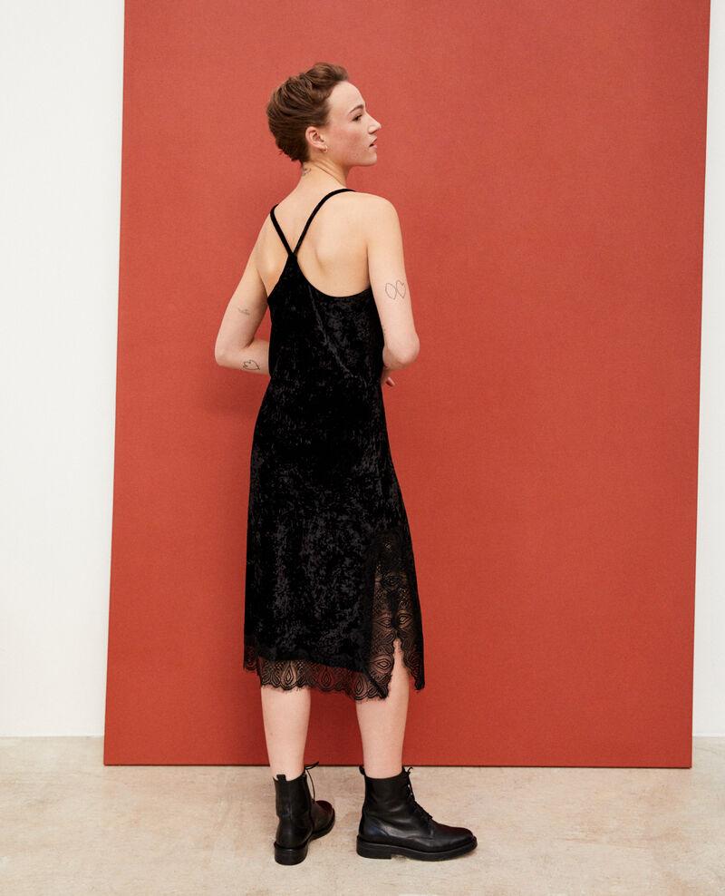 Vestido de terciopelo y encaje Negro Glife
