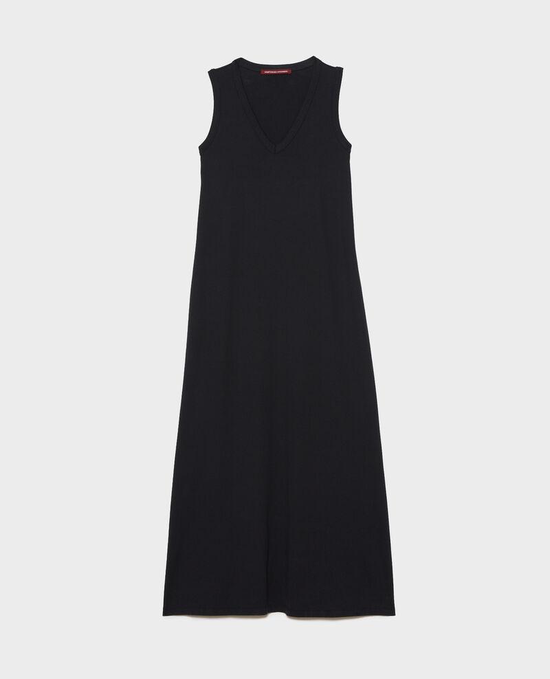 Vestido largo de algodón con cuello de pico Black beauty Larosa