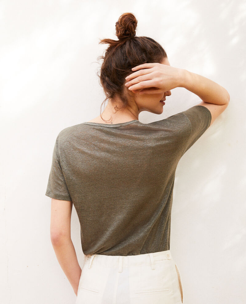 Camiseta efecto brillante de lino Military green Imapou