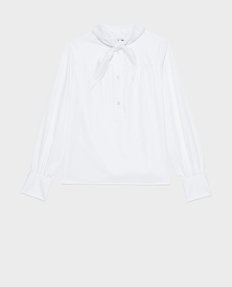 Blusa de algodón con cuello fular desmontable Brilliant white Manosque