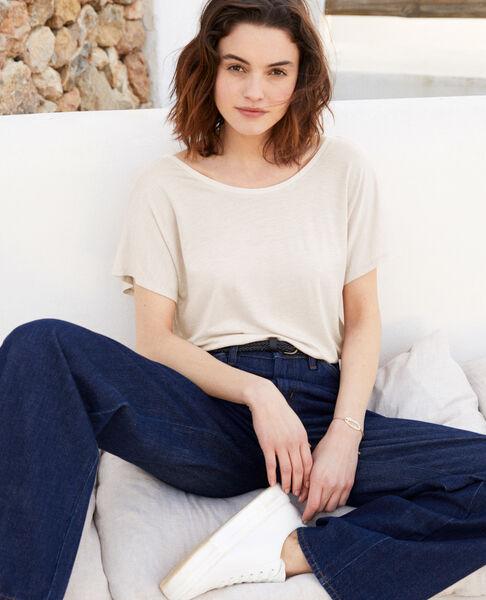 Comptoir des Cotonniers - T-shirt col V dans le dos  Off white - 1