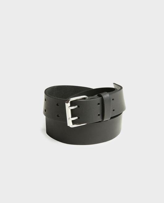Cinturón de cuero con hebilla rectangular BLACK BEAUTY