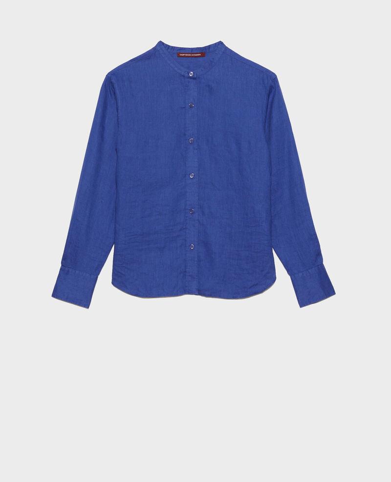Camisa de lino sin cuello Royal blue Nawak