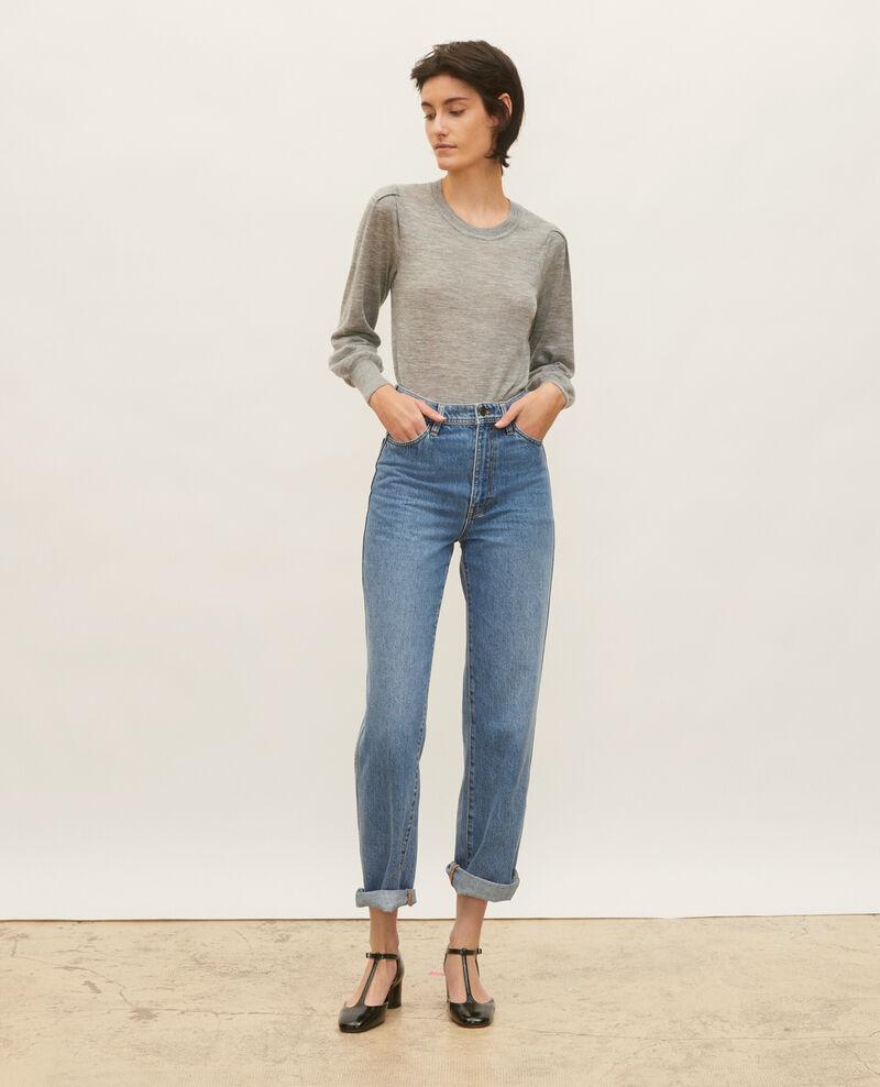 Jersey de lana merino con cuello redondo Light grey melange Molineta