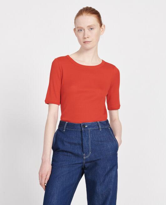 Camiseta fino canalé de algodón mercerizado FIERY RED