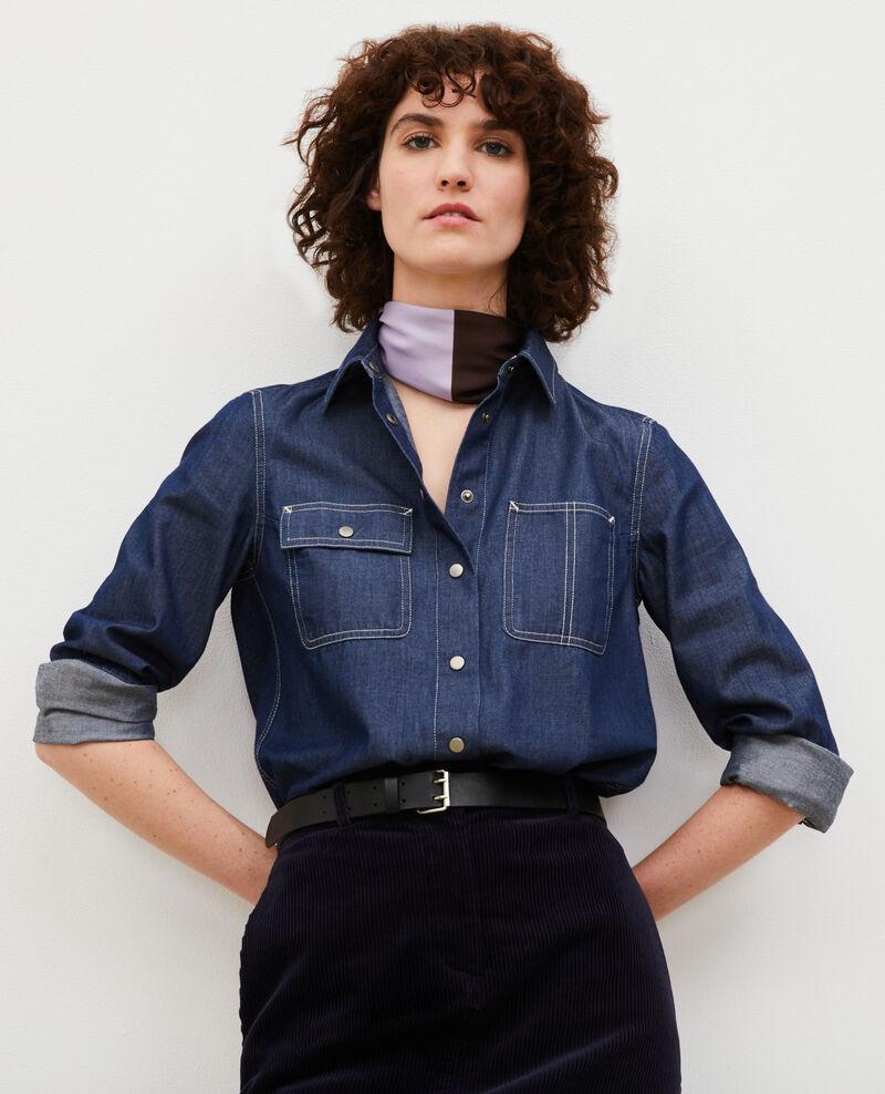 Camisa vaquera con bolsillos asimétricos. Denim brut Madigna