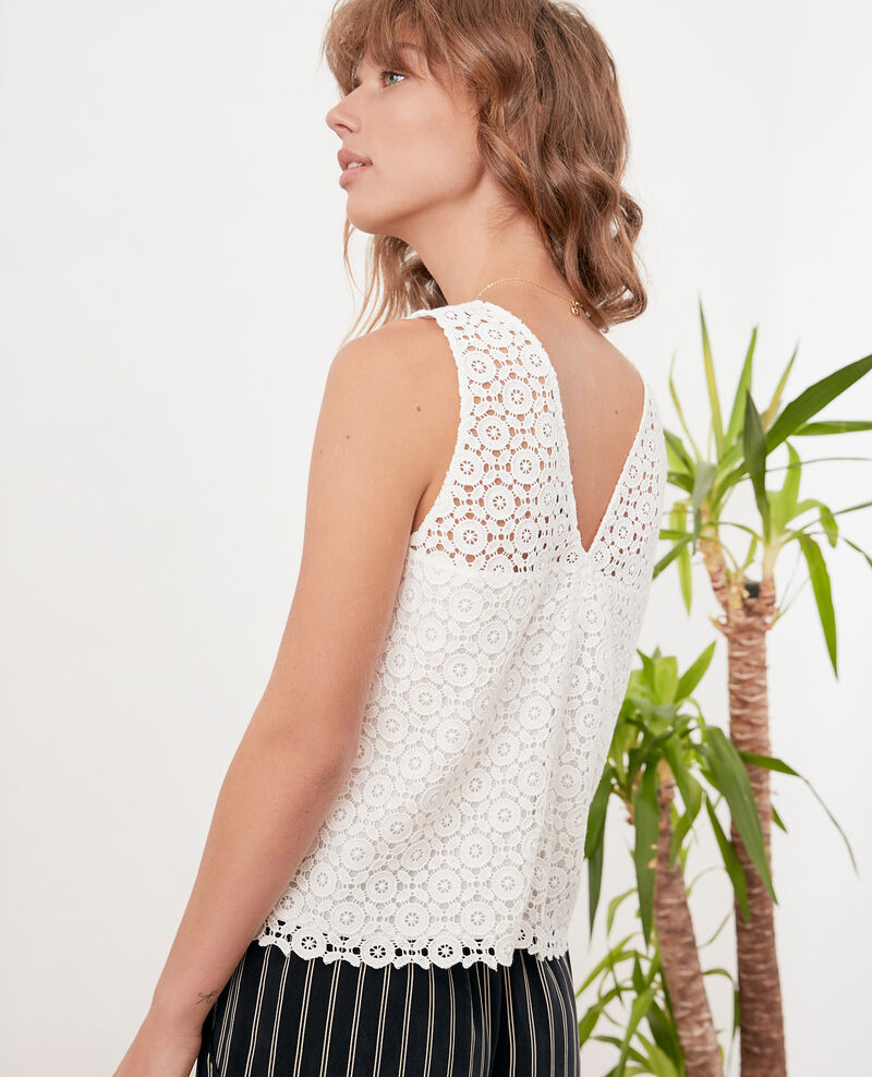 Top con bordado inglés Off white Foulouse