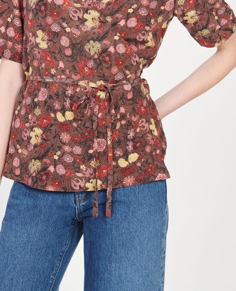 Blusa de seda motivo floral con escote cruzado Print eden tortoiseshell Mirebeau